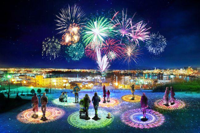 【終了】冬花火とともに函館を彩る。「ネイキッド はこだて光の万華鏡」開催
