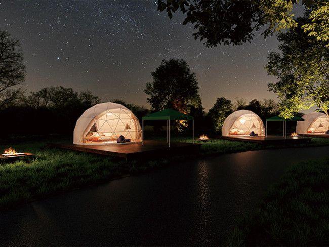 森の中に佇むドーム型グランピング施設。山梨にて「THE FOREST」オープン!